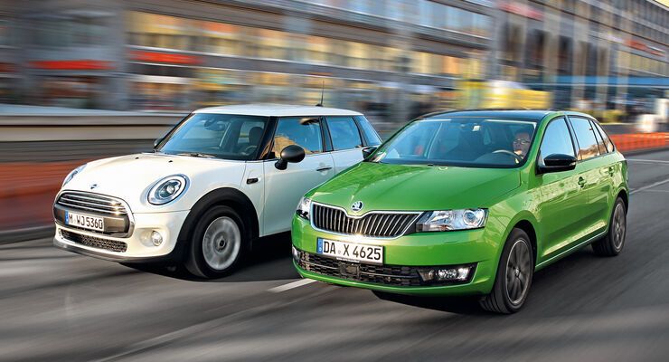 Mini One, Skoda Rapid Spaceback 1.2 TSI, Frontansicht