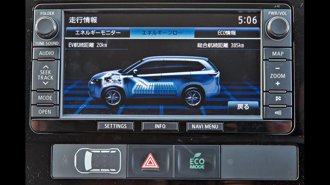 Mitsubishi Outlander PHEV, Bordmonitor, Display