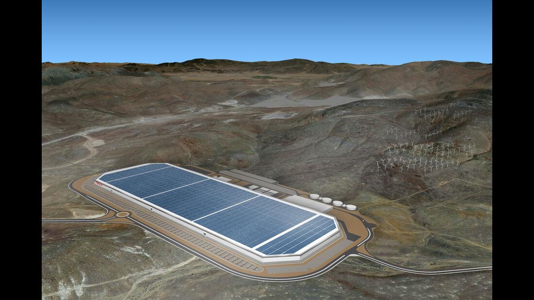 Modell der Tesla Gigafactory-Batteriefabrik