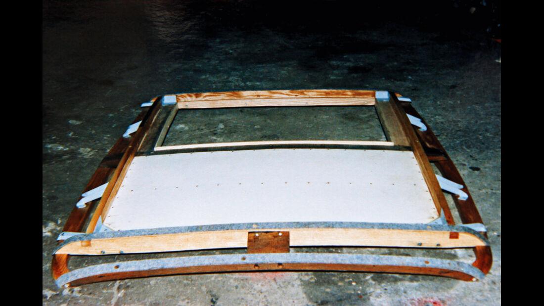 Morris Minor Saloon, hölzernes Dachgerüst, Detail