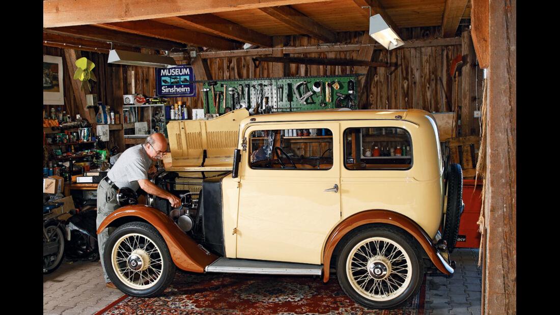 Morris Minor Saloon ind der Privatwerkstatt von Gabor Szabo aus Ditzingen
