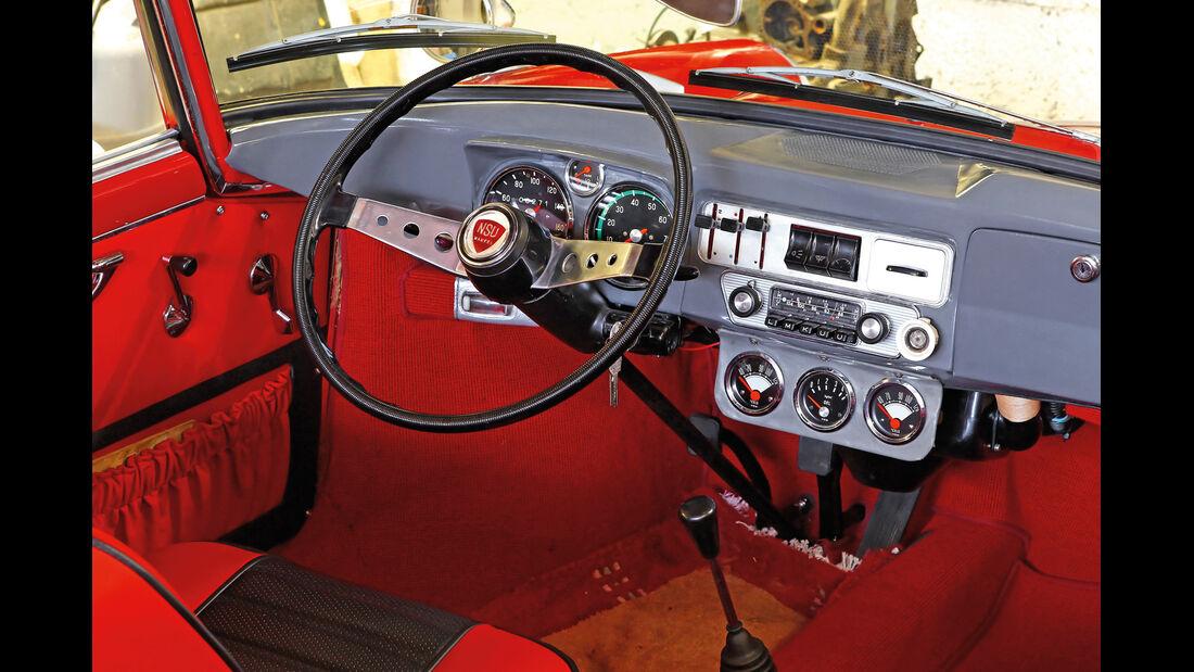 NSU Wankel-Spider, Lenkrad, Cockpit, Radio