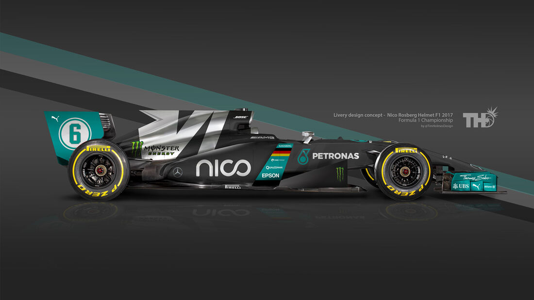 Nico Rosberg - F1-Autos mit Helm-Lackierung - 2016