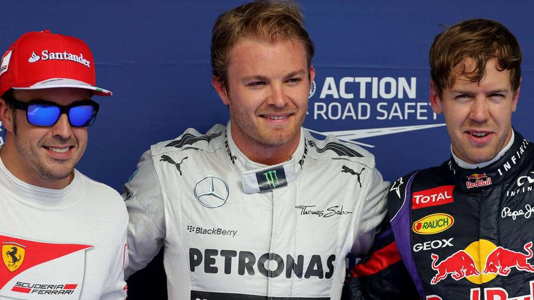 Nico Rosberg Fernando Alonso Sebastian Vettel GP Bahrain Qualifying 2013