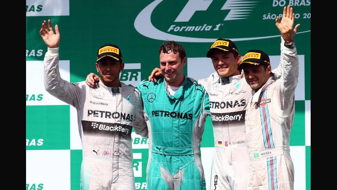 Nico Rosberg - Lewis Hamilton - Felipe Massa - Formel 1 - GP Brasilien - 9. November 2014