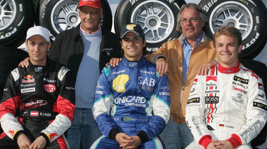 Nico Rosberg, Mathias Lauda und Nelson Piquet