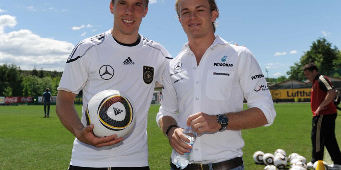 Nico Rosberg und Lukas Podolski