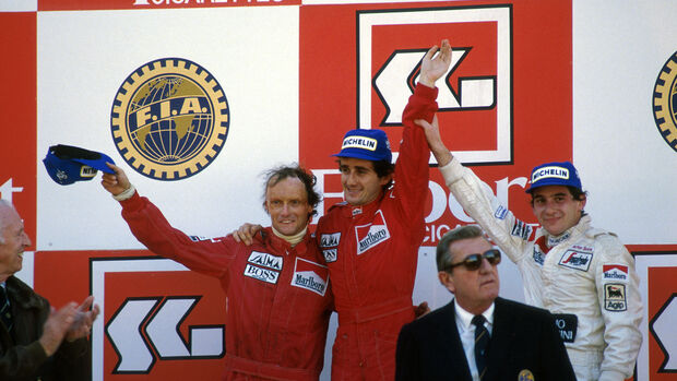 Niki Lauda - Alain Prost - McLaren - Ayrton Senna - Jean-Marie Balestre - GP Portugal 1984