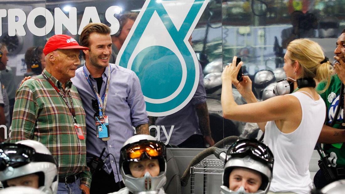 Niki Lauda & David Beckham - GP Singapur