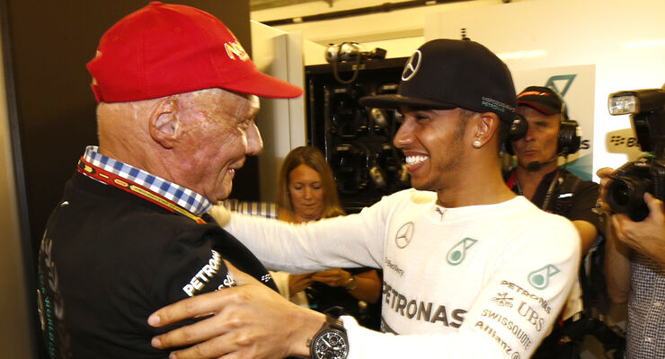 Niki Lauda & Lewis Hamilton - GP Abu Dhabi 2014