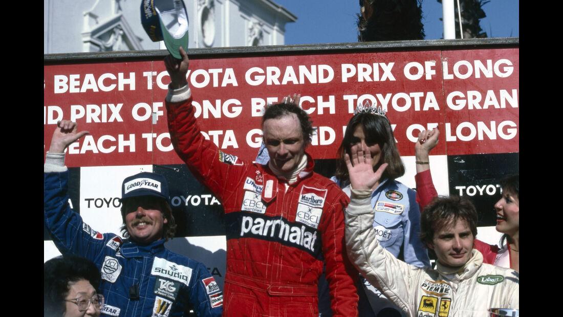 Niki Lauda - McLaren - Keke Rosberg - Williams - Gilles Villeneuve - Ferrari - Long Beach 1982