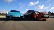 Nissan GT-R, Porsche 911 Turbo, Frontansicht