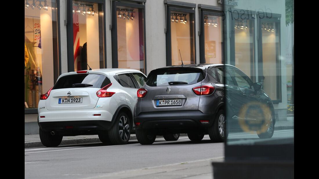 Nissan Juke 1.5 dCi, Renault Captur dCi 90, Heckanasicht