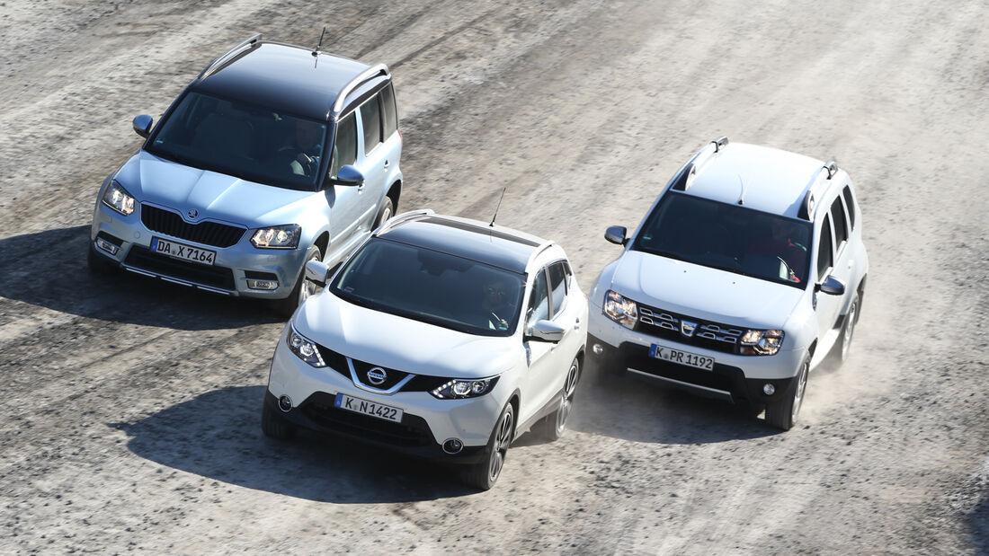 Nissan Qashqai 1.2 DIG-T, Dacia Duster, Skoda Yeti, Frontansicht