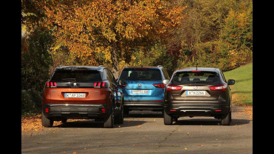 Nissan Qashqai 1.2 DIG-T, Peugeot 3008 Puretech 130, VW Tiguan 1.4 TSI