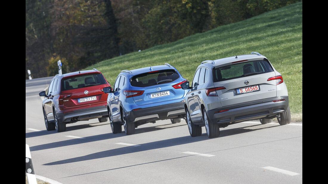 Nissan Qashqai 1.6 DIG-T Tekna+, Skoda Karoq 1.5 TSI ACT Style, VW Tiguan 1.4 TSI ACT Comfortline, Exterieur