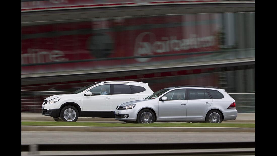 Nissan Qashqai+2 und VW Golf Variant