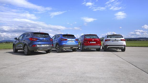 Nissan Qashqai, Renault Kadjar, Seat Ateca, VW Tiguan, Exterieur Heck