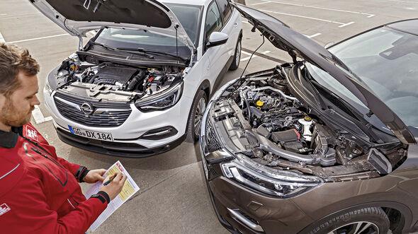 Nissan Quashqai 1.3 DIG-T, Opel Grandland X 1.2 DI Turbo, Motorraum