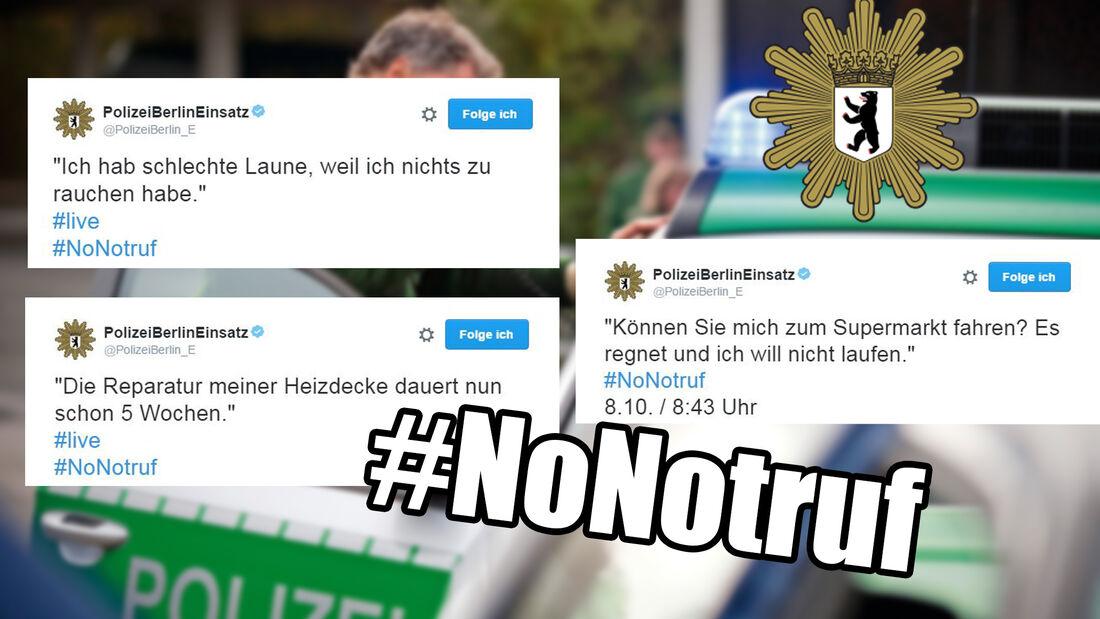 NoNotruf-Teaser, Polizei Berlin, Twitter-Aktion