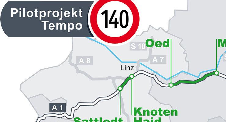 Österreich Tempo 140 km/h