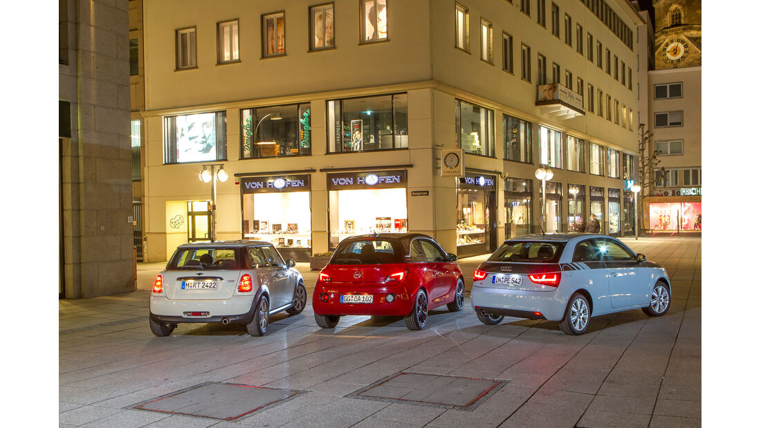 Opel Adam 1.4 ECOFLEX, Audi A1 1.2 TSI, Mini One, Heckansicht