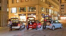 Opel Adam 1.4 ECOFLEX, Audi A1 1.2 TSI, Mini One, Heckansicht, Heckklappe