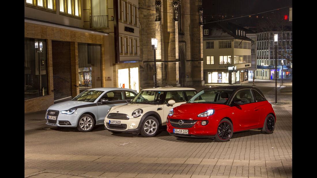 Opel Adam 1.4 ECOFLEX, Audi A1 1.2 TSI, Mini One, Seitenansicht