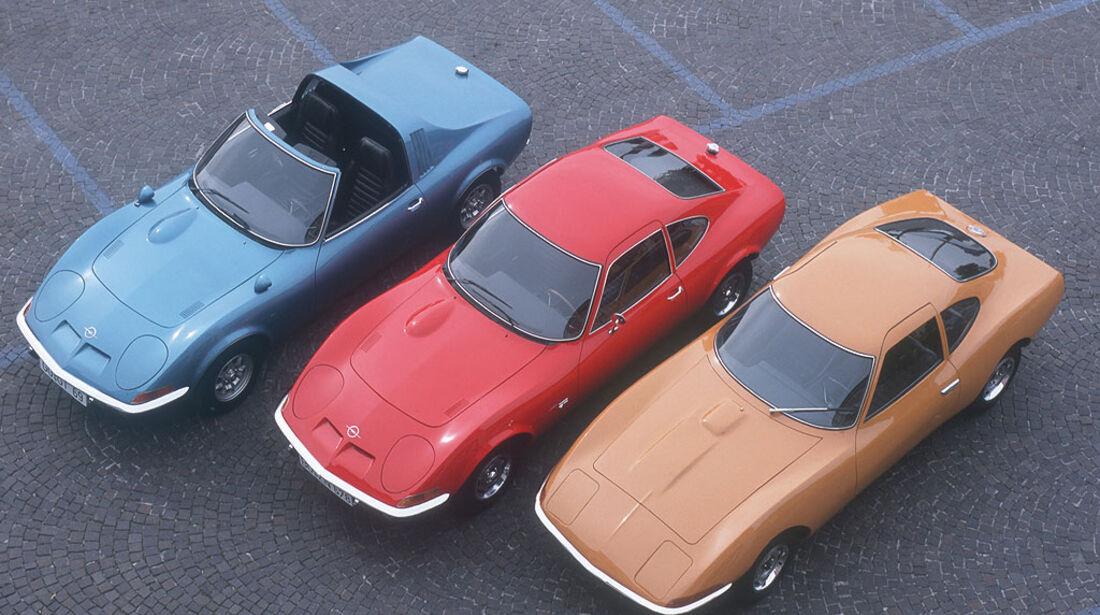 Opel Aero GT 1969, Opel GT 1,9 Liter, 1968-1973 und der Opel Experimental GT von 1965
