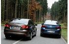 Opel Astra 1.7 CDTi Ecoflex, VW Jetta 1.6 TDI, Heckansicht
