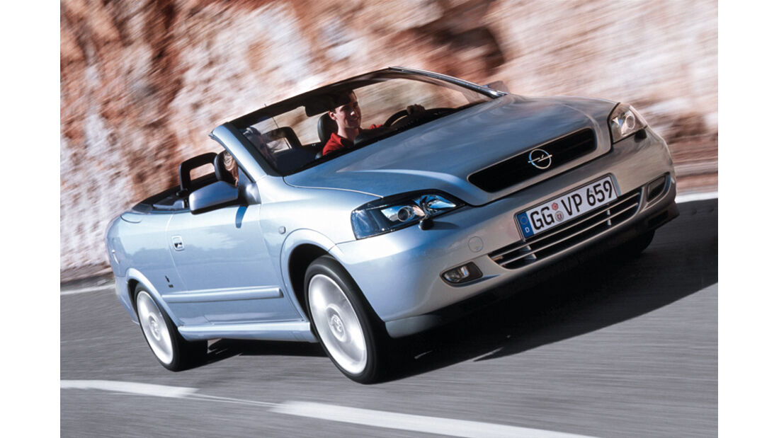 Opel Astra Cabrio 1.8, Frontansicht, silber