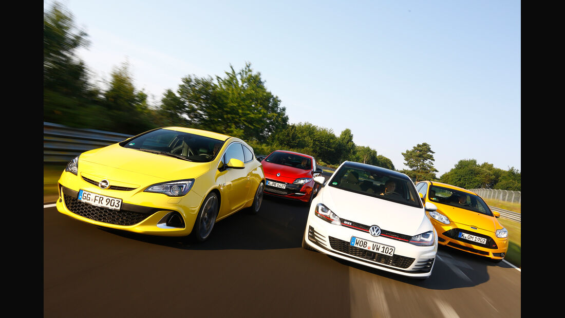 Opel Astra OPC, Renault Mégane R.S., Ford Focus ST, VW Golf GTI Performance