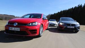Opel Astra OPC, Seat Leon SC Cupra 280, VW Golf R, Frontansicht