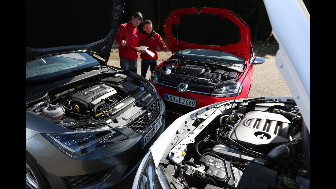 Opel Astra OPC, Seat Leon SC Cupra 280, VW Golf R, Motoren