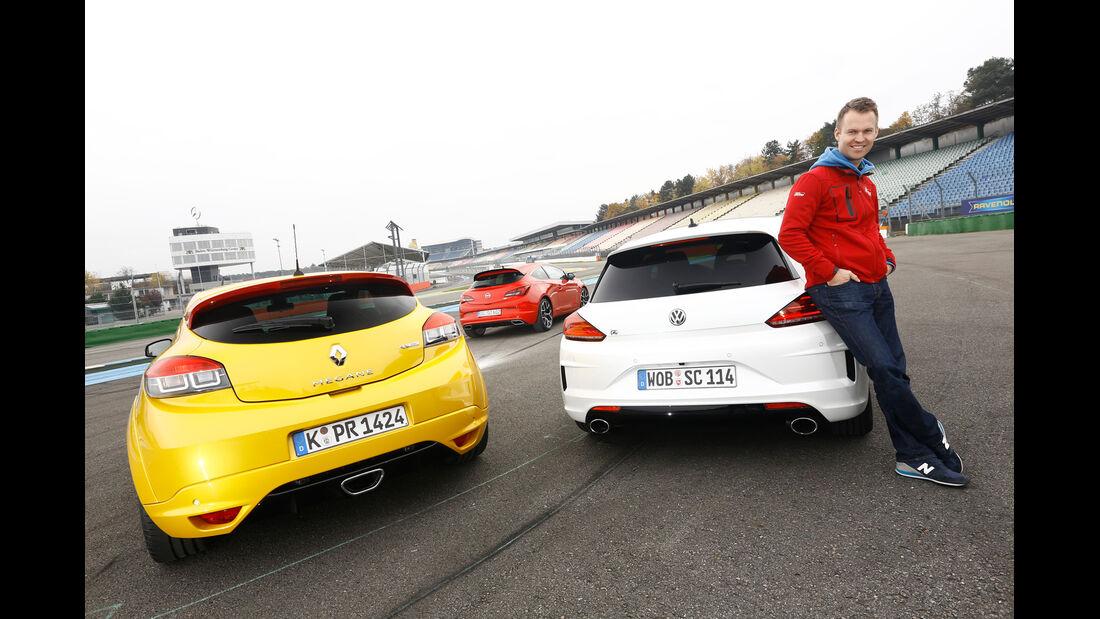 Opel Astra OPC, VW Scirocco R, Renault Mégane R.S., Christian Gebhardt