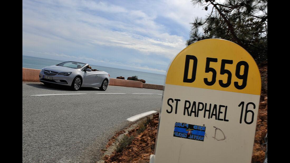 Opel Cascada, Frontansicht, Straßenschild