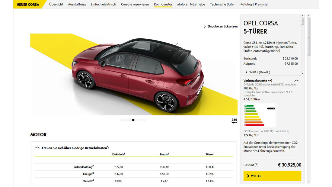 Opel Corsa Konfigurator 2019