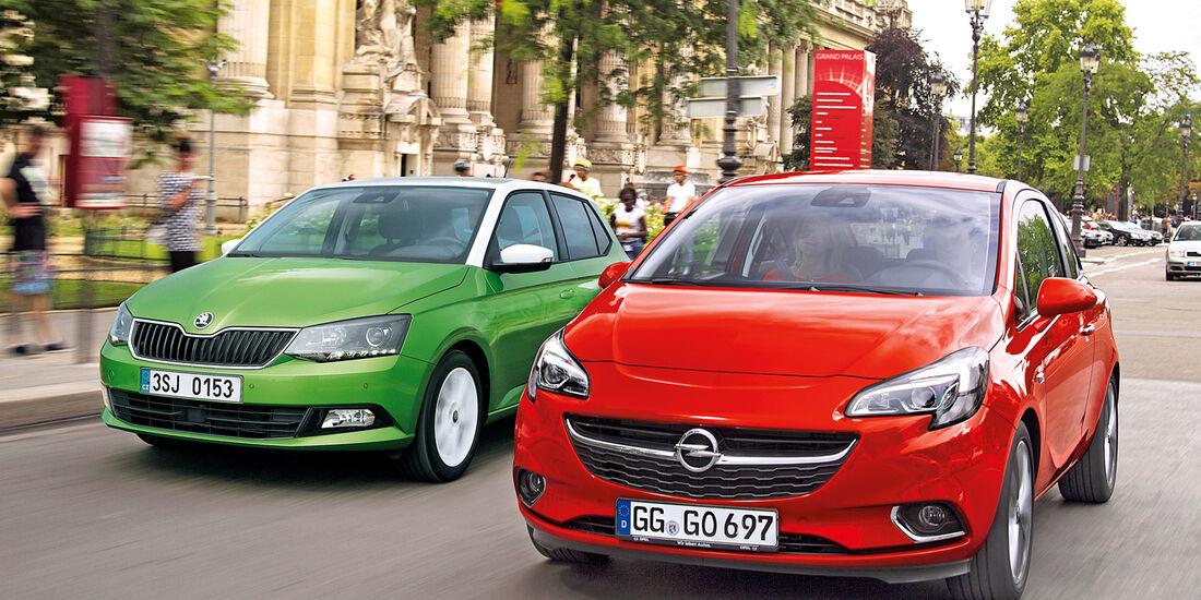 Opel Corsa, Skoda Fabia, Frontansicht