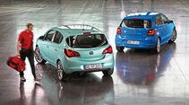 Opel Corsa, VW Polo, Heckansicht