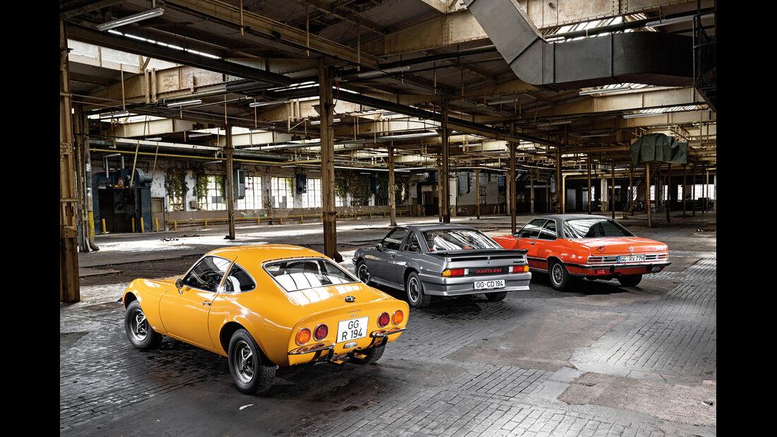 Opel GT 1900, Opel Manta GSi, Opel Commodore GS/E, Heckansicht