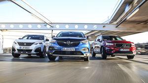 Opel Grandland X Hybrid4, Peugeot 3008 Hybrid4, Volvo XC40 T5 Twin Engine