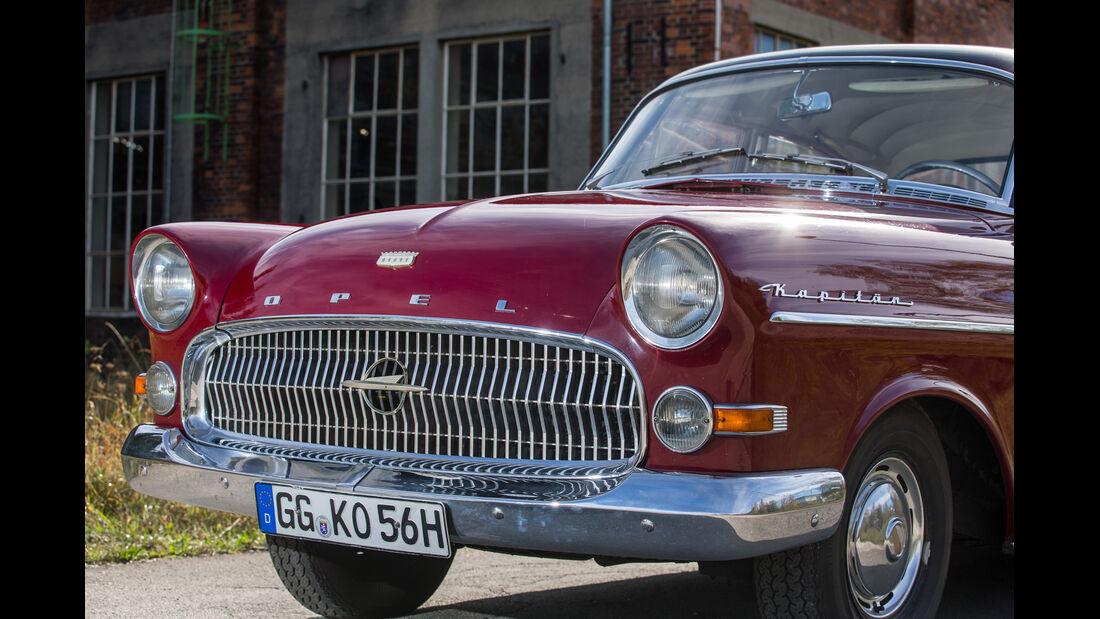 Opel Kapitän, Modell 1956, Frontscheinwerfer, Kühlergrill