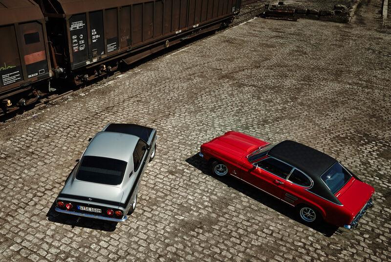 Opel Manta A, Ford Capri Serie 1, Heckansicht