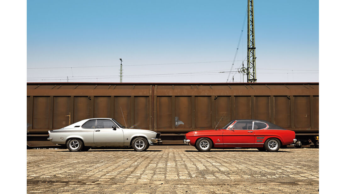 Opel Manta A, Ford Capri Serie 1, Seitenansicht