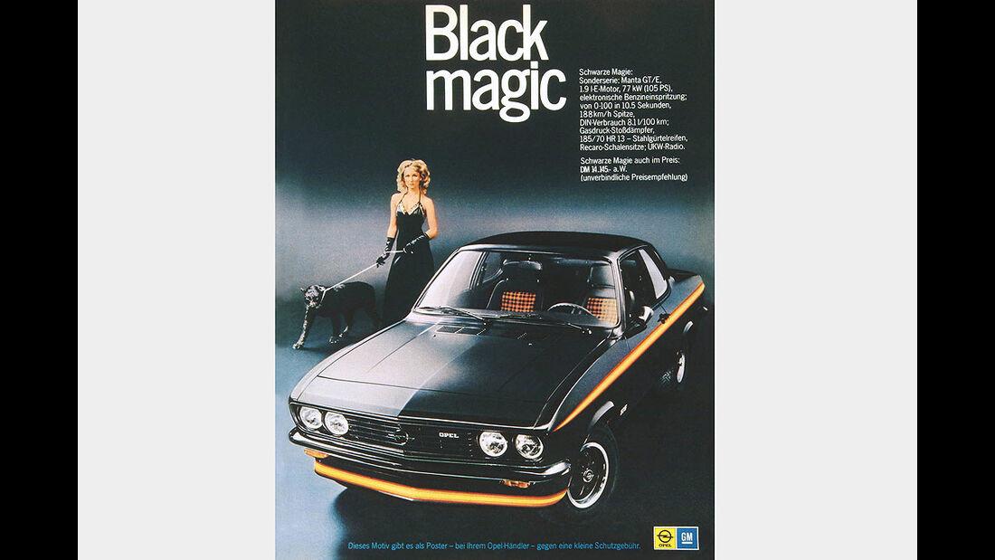 Opel Manta A, GTE Sondermodell Black Magic, 1975, Werbeanzeige
