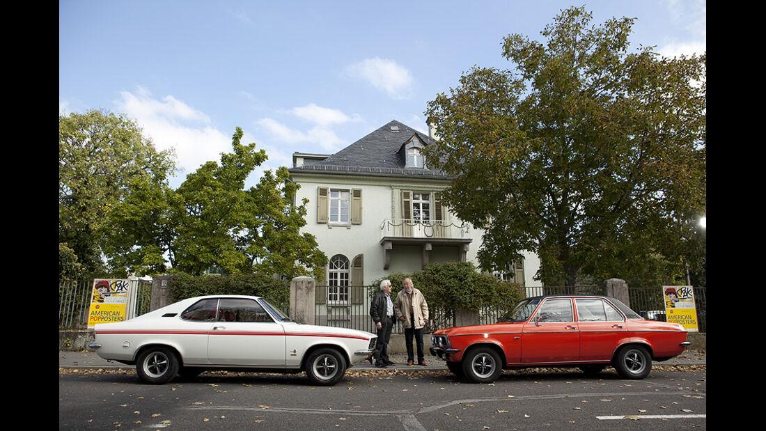 Opel Manta, Erhard Schnell, George Gallion und Opel Ascona (von links)