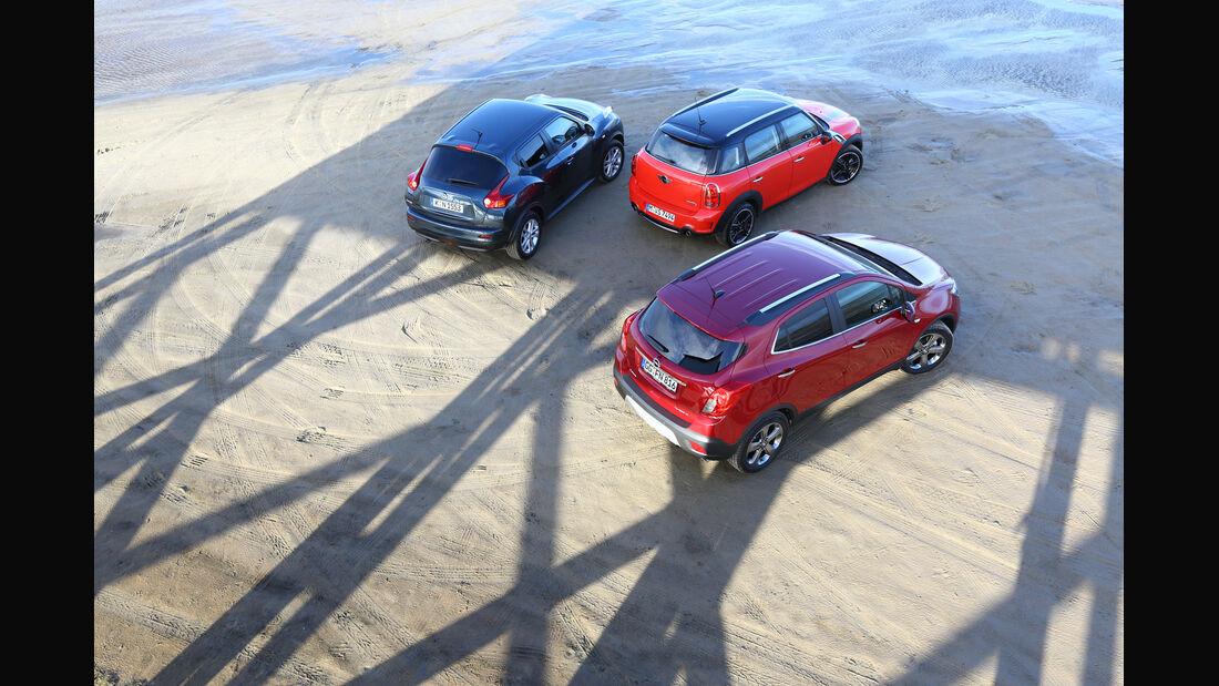 Opel Mokka, Mini Countryman, Nissan Juke, Heckansicht