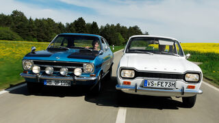 Opel Rallye Kadett 1100 SR, Ford Escort I, Frontansicht