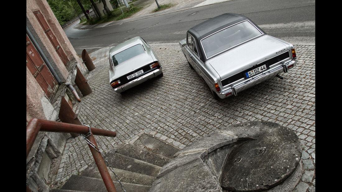 Opel Rekord Sprint, Ford 17M RS, Heckansicht