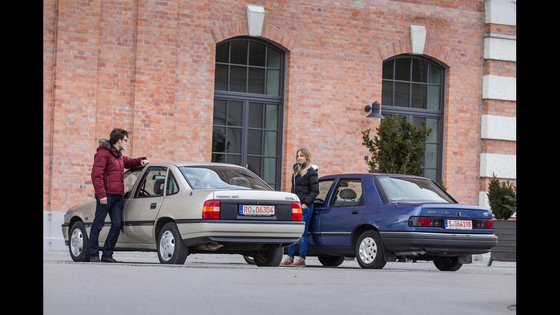 Opel Vectra 2.0i, Ford Sierra 2.0i, Heckansicht